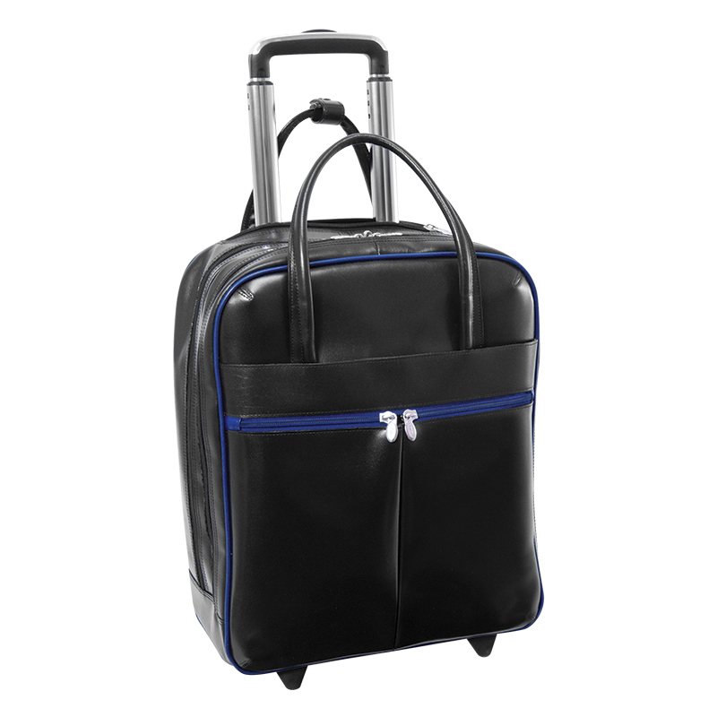 Volo Leather Overnighter Wheeled Carry-On - Black/Navy Trim