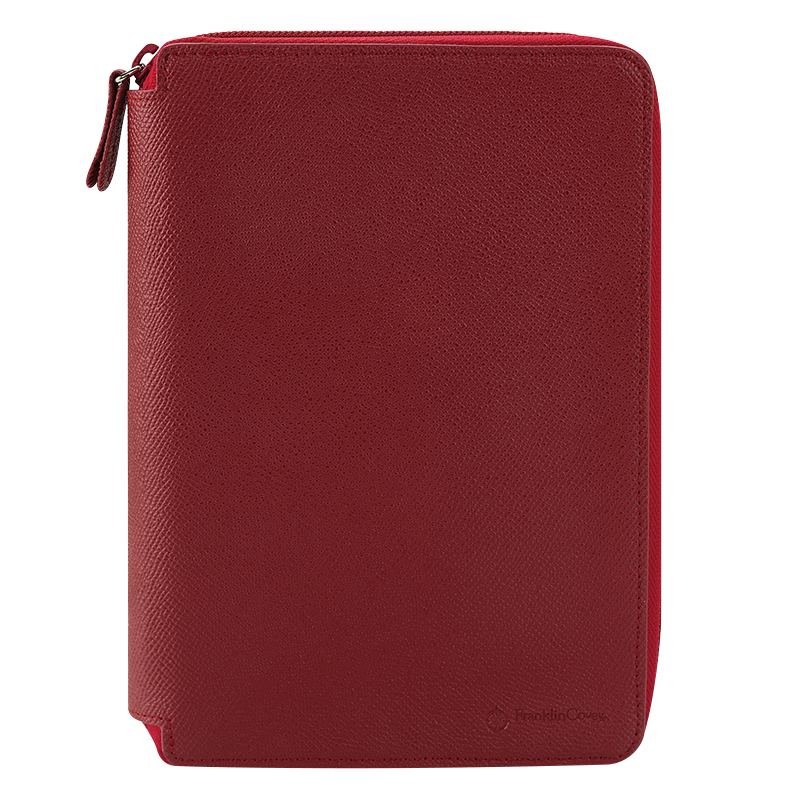 Compact Noblessa Leather Zipper Binder - Berry