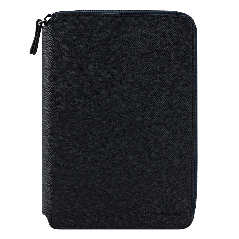 Compact Noblessa Leather Zipper Binder - Navy