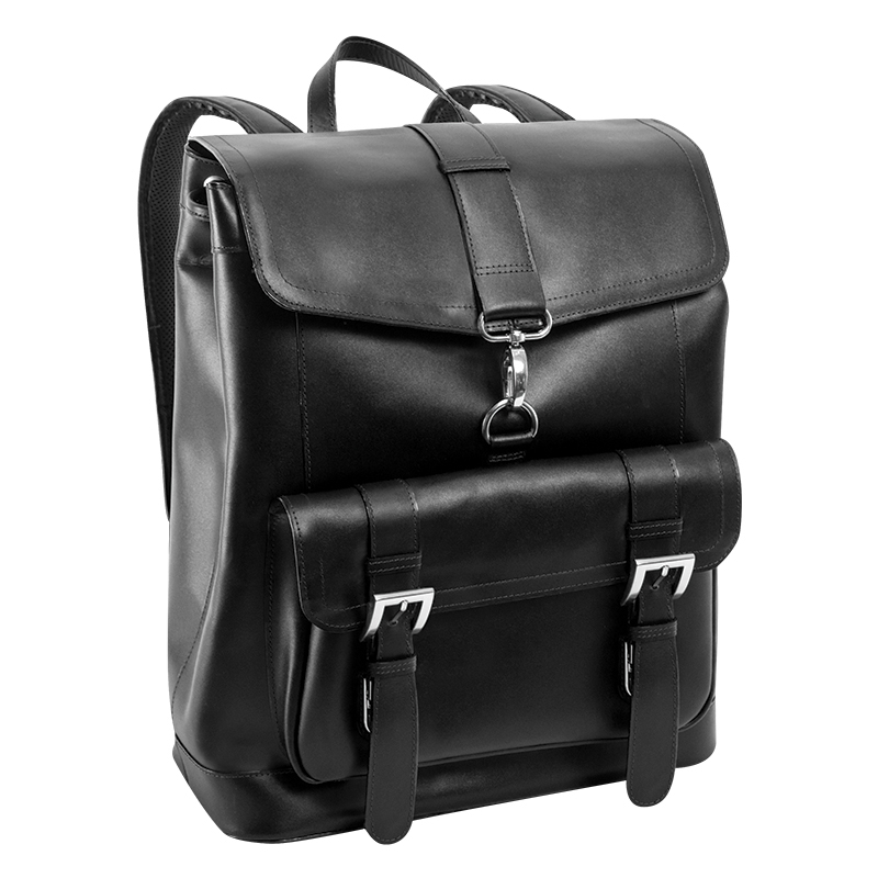 Hagen Leather Laptop Backpack - Black