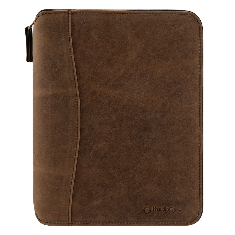 Classic Ethan Leather Spacemaker Zipper Binder - Brown