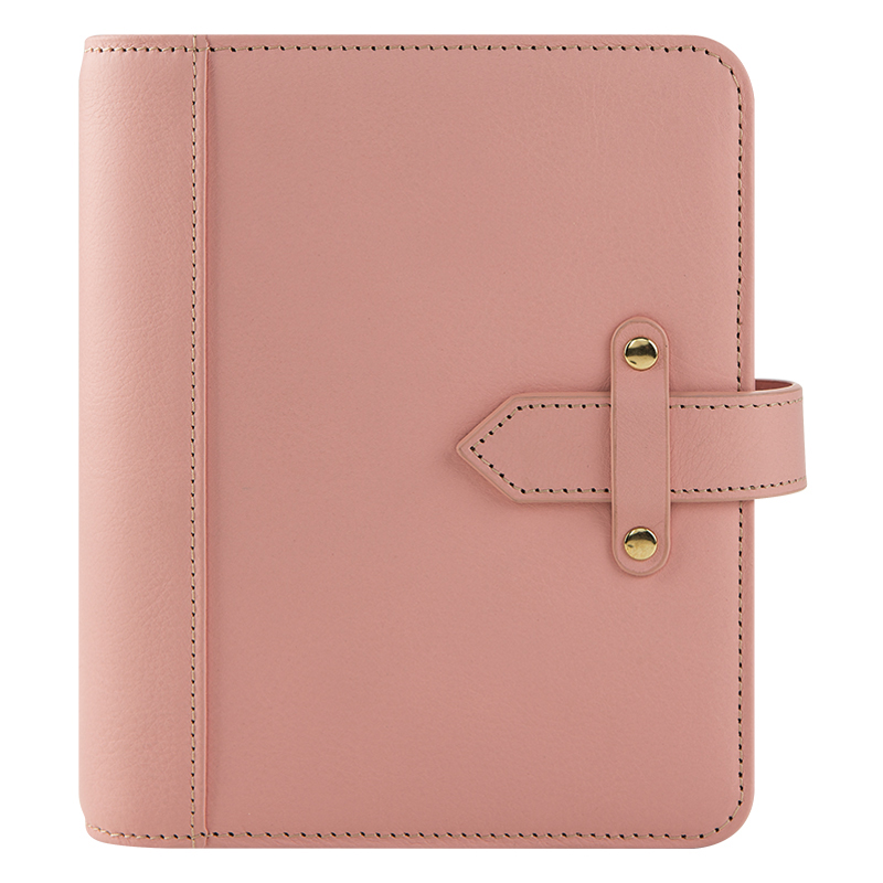 Compact Vintage Aurora Leather Strap Binder - Blush