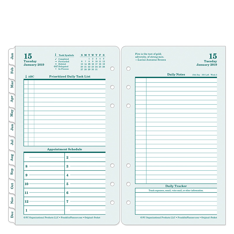 Pocket Original Daily Ring-bound Planner - Jan 2019 - Dec 2019