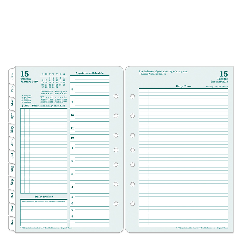 Classic Original Daily Ring-bound Planner - Jan 2019 - Dec 2019