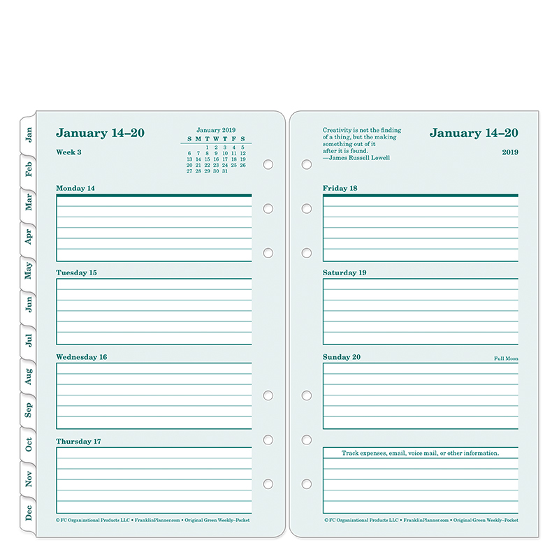 Pocket Original 100% Recycled Weekly Ring-bound Planner - Jan 2019 - Dec 2019