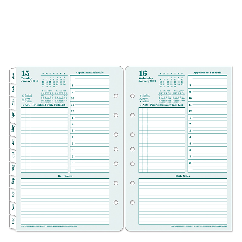 Classic Original One-Page-Per-Day Ring-bound Planner - Jan 2019 - Dec 2019