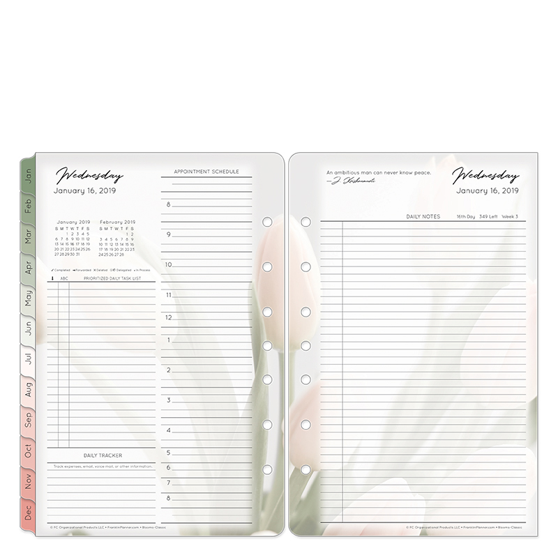 Classic Blooms Daily Ring-bound Planner - Jan 2019 - Dec 2019