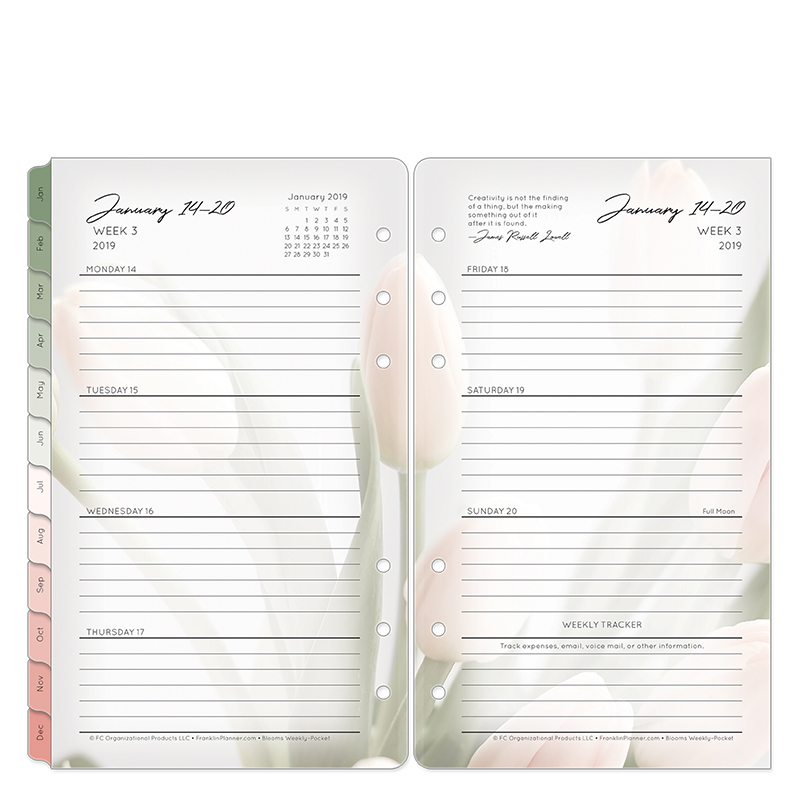 Pocket Blooms Weekly Ring-bound Planner - Jan 2019 - Dec 2019