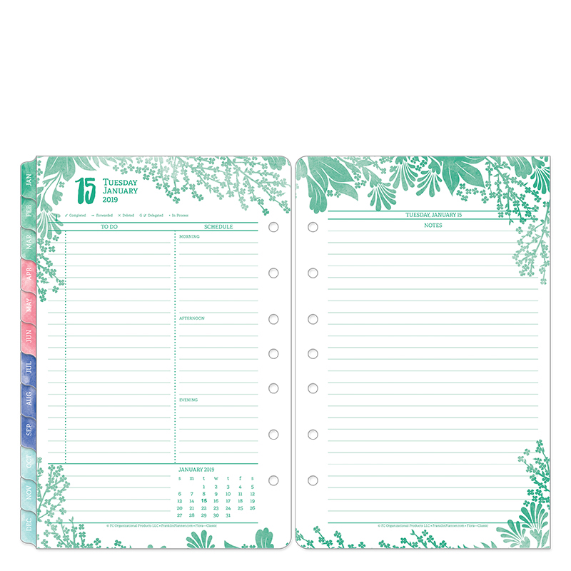 Classic Flora Daily Ring-bound Planner - Jan 2019 - Dec 2019