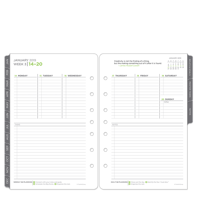 Classic The Five Choices Ring-bound Weekly Planner - Jan 2019 - Dec 2019