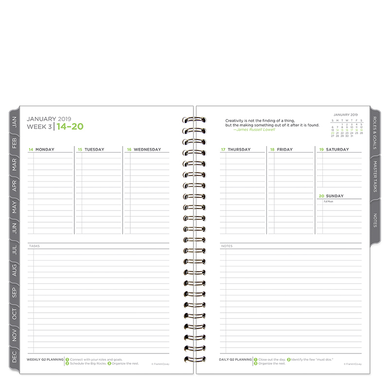 Classic The Five Choices Weekly Wire-bound Planner - Jan 2019 - Dec 2019