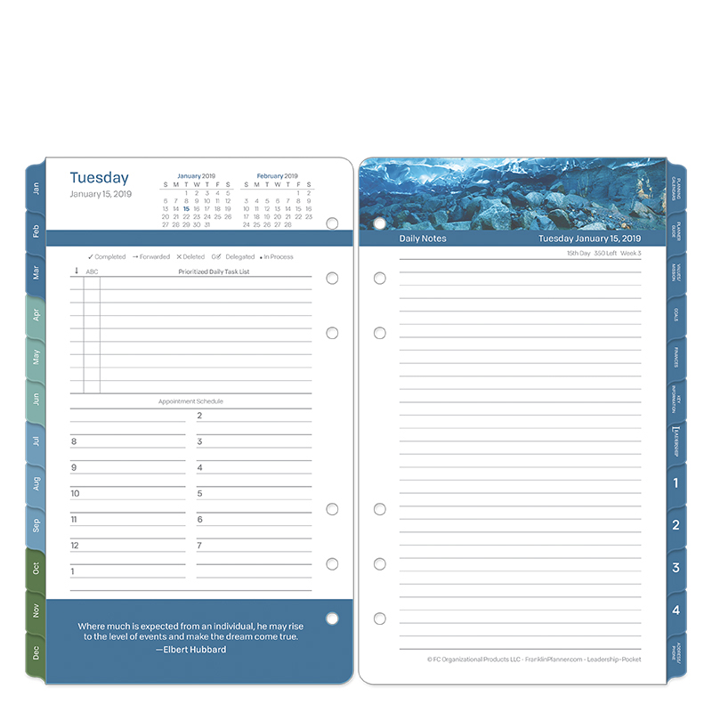 Pocket Leadership Daily Ring-bound Planner - Jan 2019 - Dec 2019