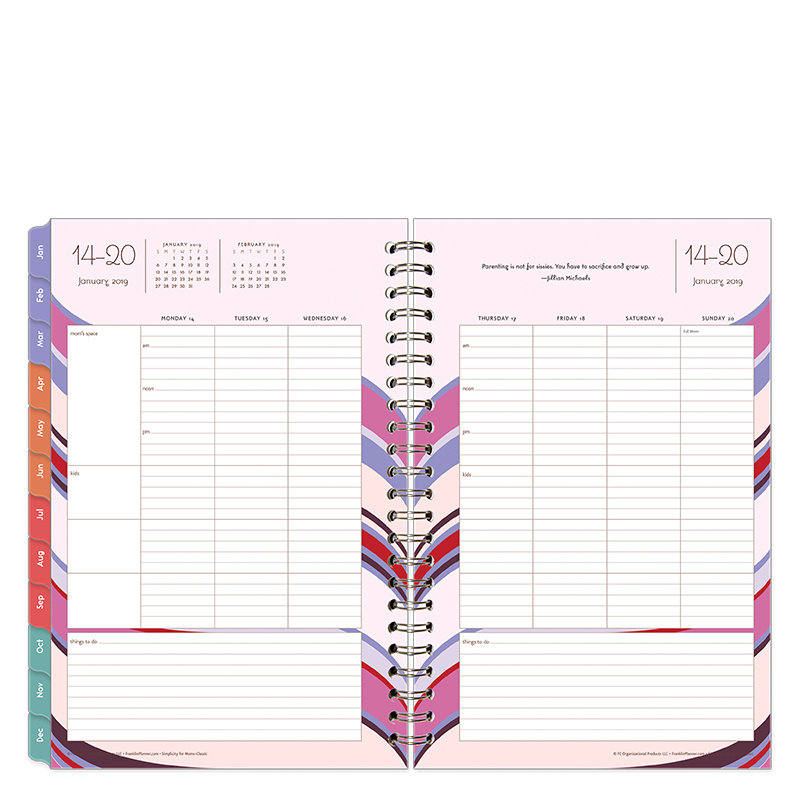 Classic Simplicity For Moms Weekly Wire-bound Planner - Jan 2019 - Dec 2019
