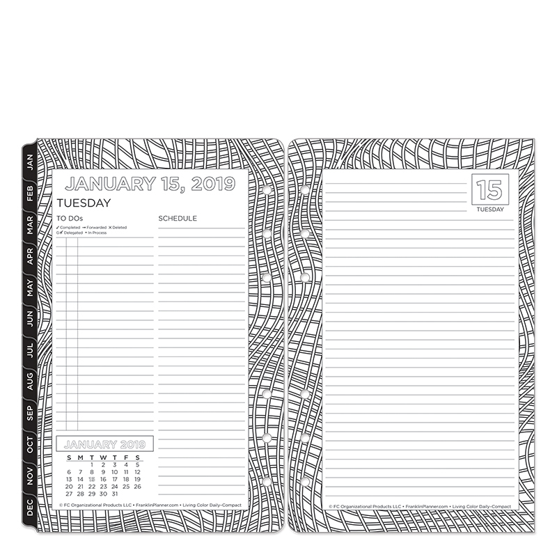 Compact Living Color Ring-bound Daily Planner - Jan 2019 - Dec 2019