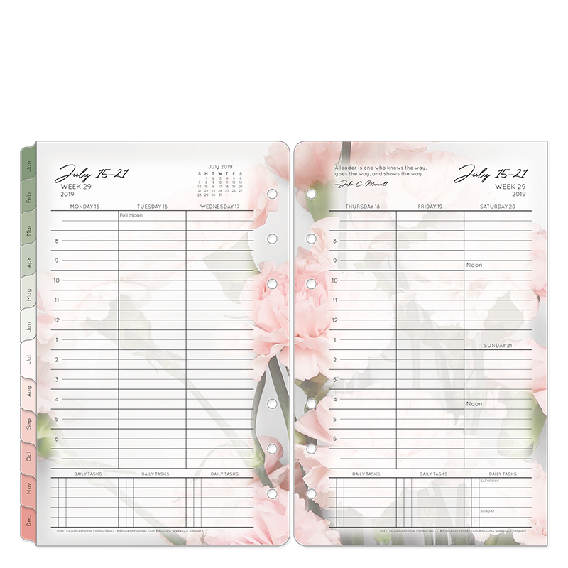 Compact Blooms Weekly Ring-bound Planner - Jul 2019 - Jun 2020