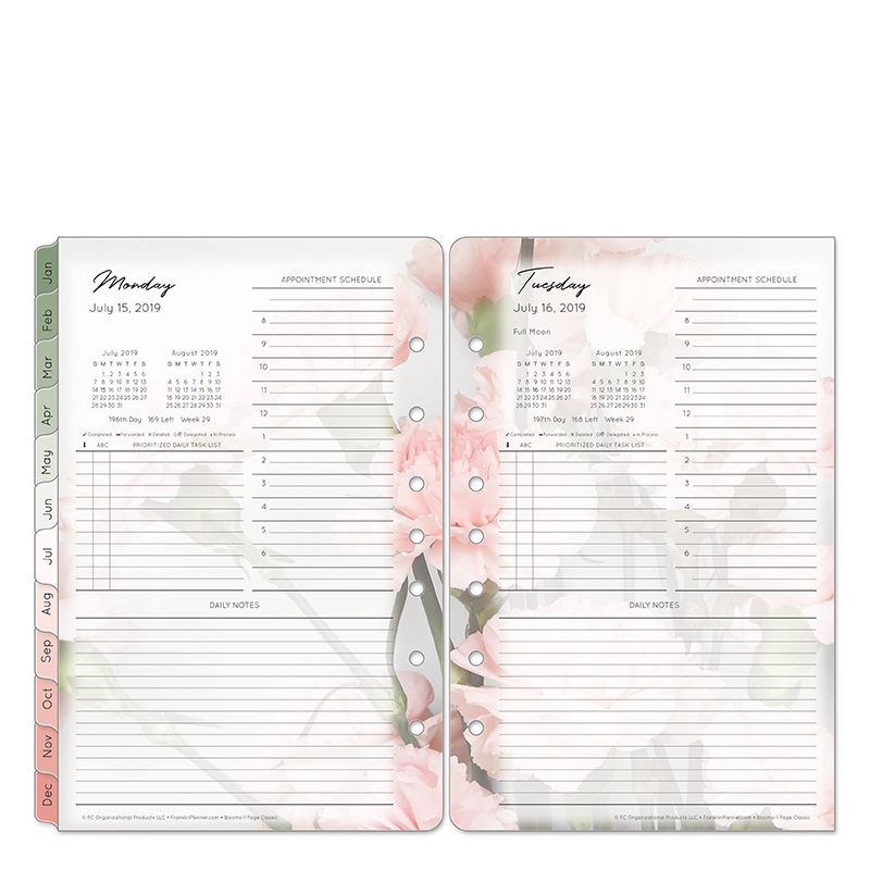 Classic Blooms One-Page-Per-Day Ring-bound Planner - Jul 2019 - Jun 2020