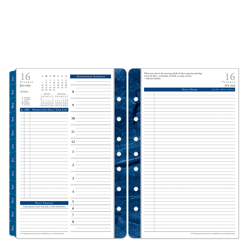 Classic Monticello Daily Ring-bound Planner - Jul 2019 - Jun 2020