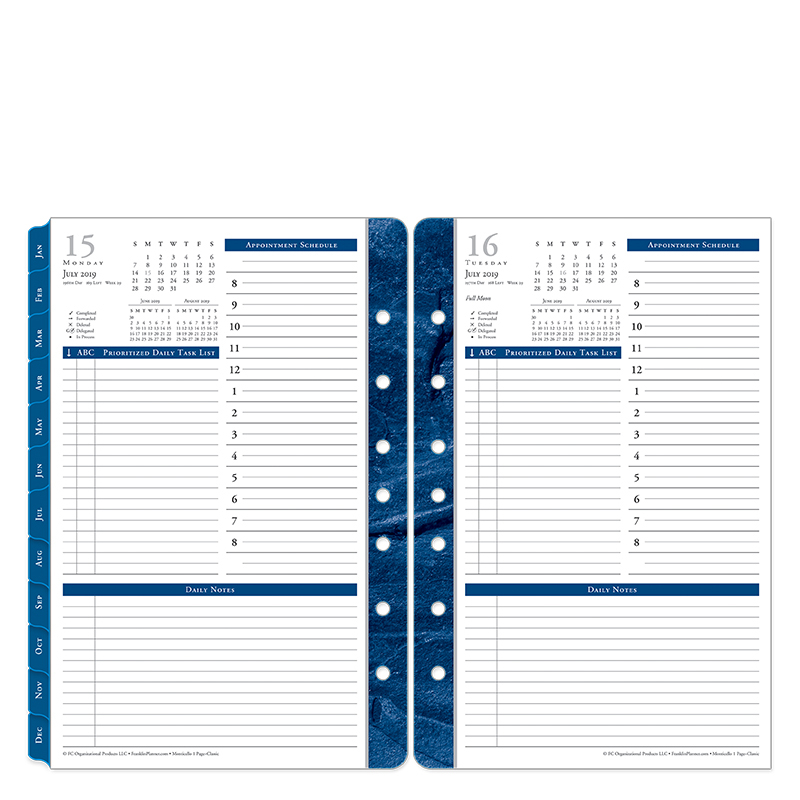 Classic Monticello One-Page-Per-Day Ring-bound Planner - Jul 2019 - Jun 2020