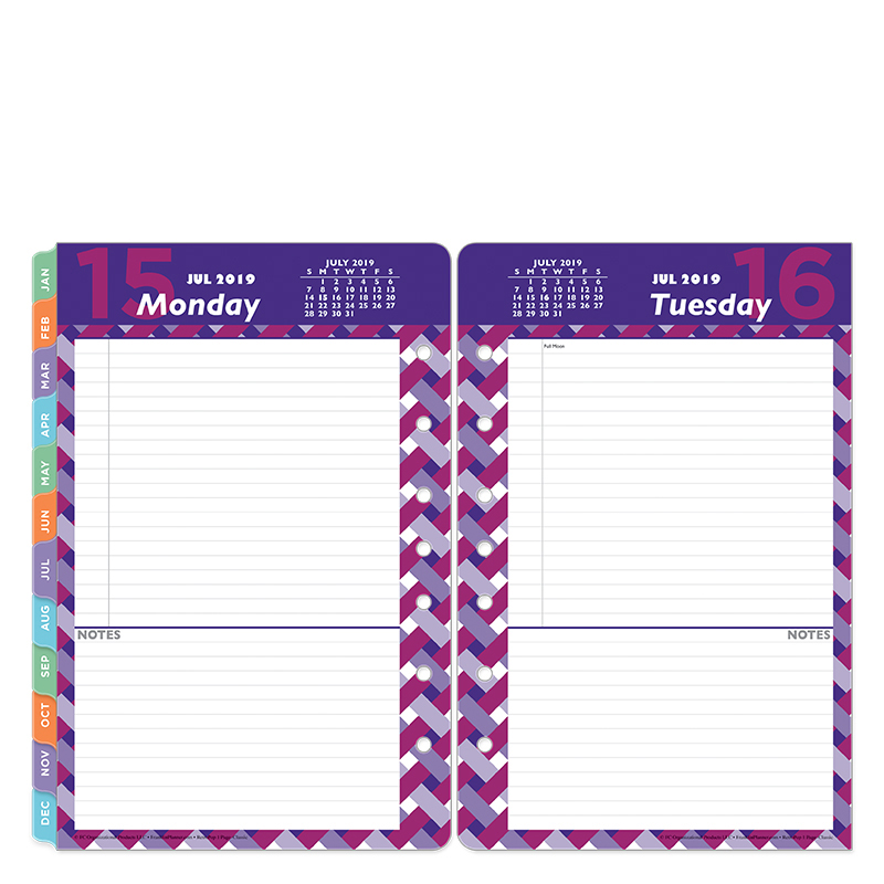 Classic Retropop One-Page-Per-Day Ring-bound Planner - Jul 2019 - Jun 2020