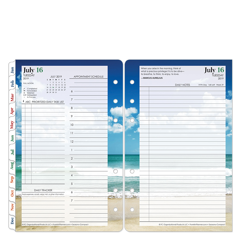 Compact Seasons Daily Ring-bound Planner - Jul 2019 - Jun 2020