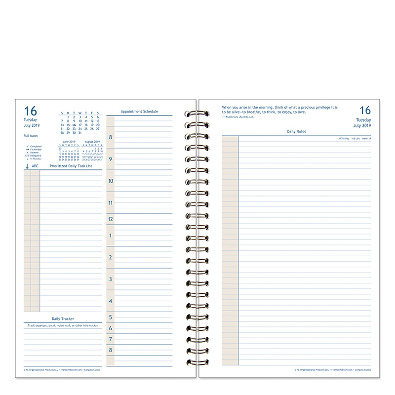 Classic Compass Daily Wire-bound Planner Kit - Jul 2019 - Jun 2020
