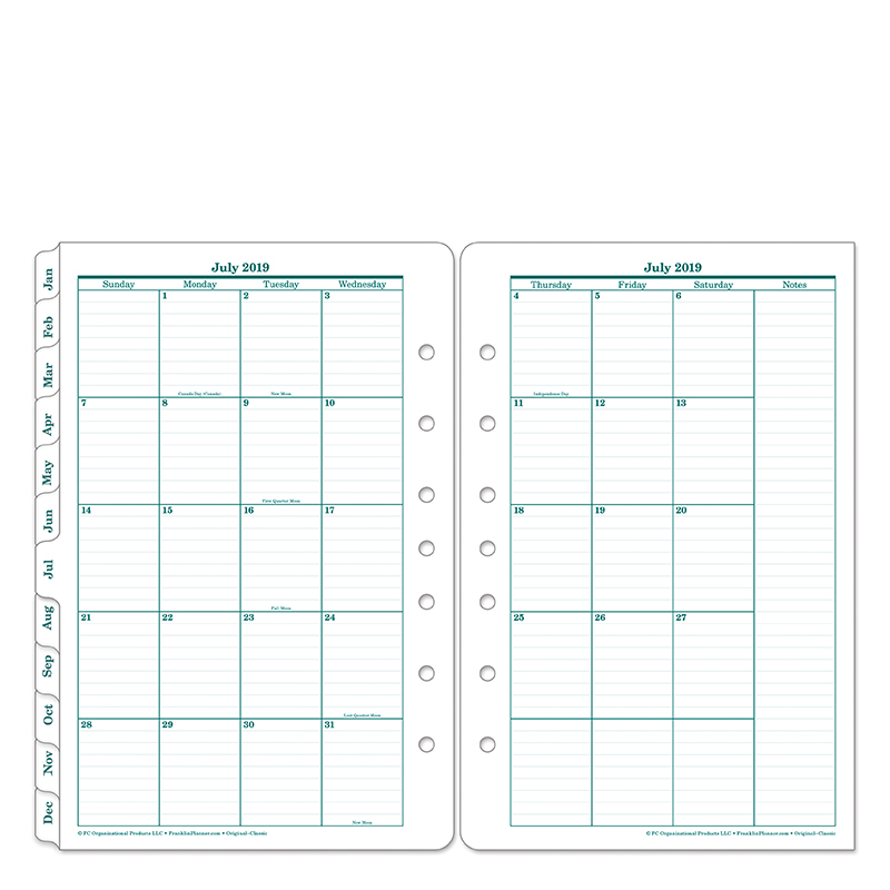 Classic Original Two Page Monthly Ring-bound Tabs - Jul 2019 - Jun 2020