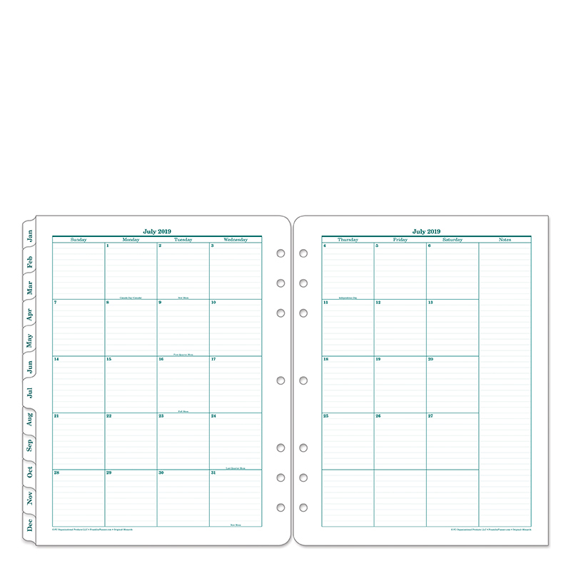 Monarch Original Two Page Monthly Ring-bound Tabs - Jul 2019 - Jun 2020