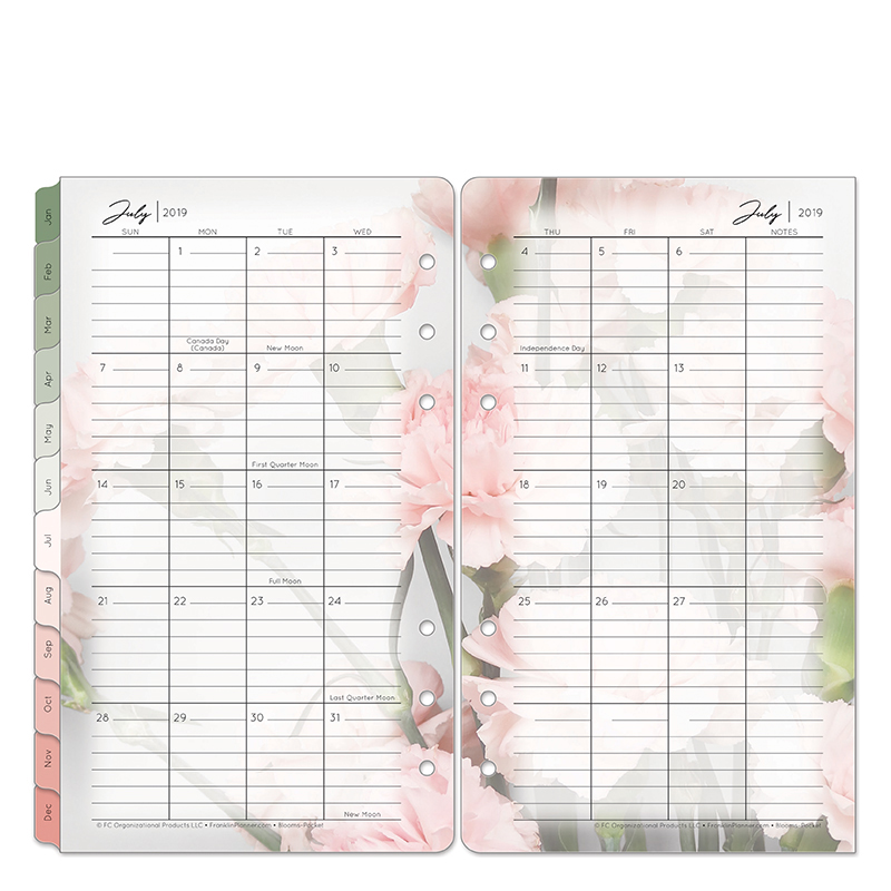 Pocket Blooms Two Page Monthly Ring-bound Tabs - Jul 2019 - Jun 2020