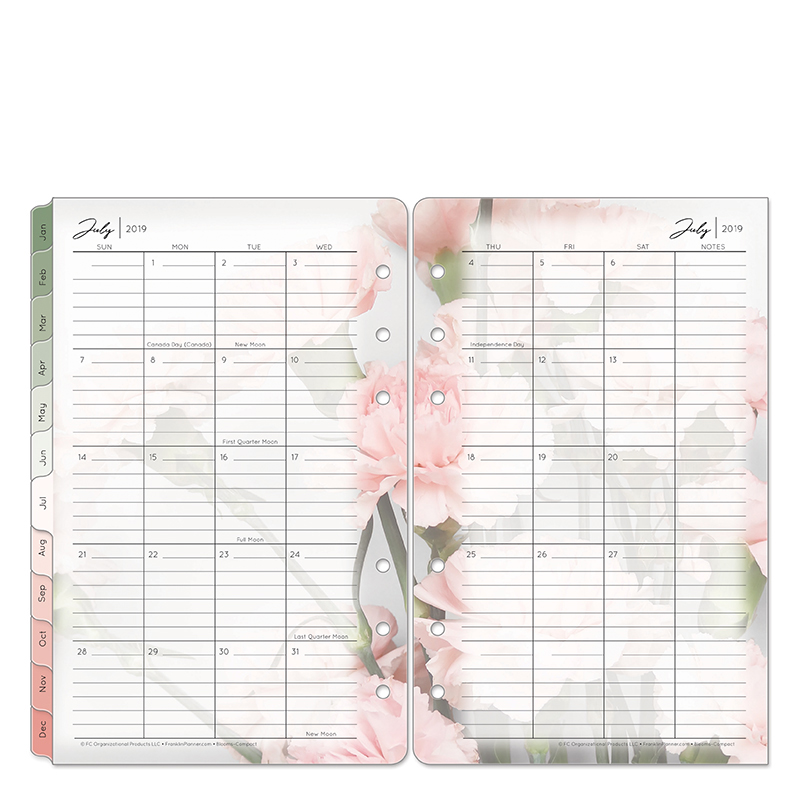Compact Blooms Two Page Monthly Ring-bound Tabs - Jul 2019 - Jun 2020