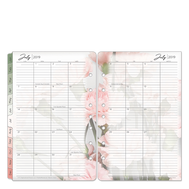 Classic Blooms Two Page Monthly Ring-bound Tabs - Jul 2019 - Jun 2020