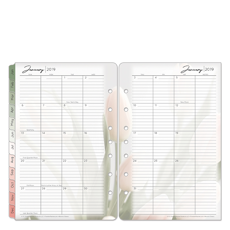 Classic Blooms Two Page Monthly Ring-bound Tabs - Jan 2019 - Dec 2019