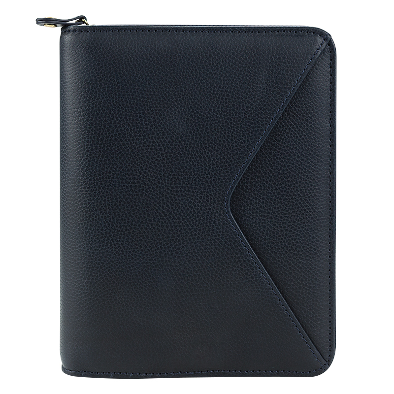 Compact Maia Leather Zipper Binder - Navy