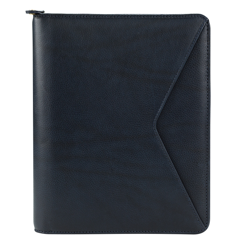 Classic Maia Leather Zipper Binder - Navy