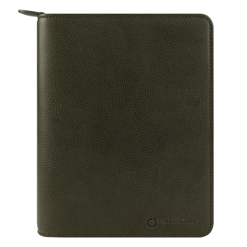 Classic Tyler Leather Zipper Binder - Olive