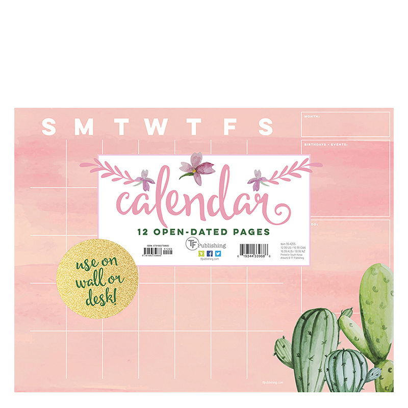Cactus Open Dated Mini Desk Pad Calendar