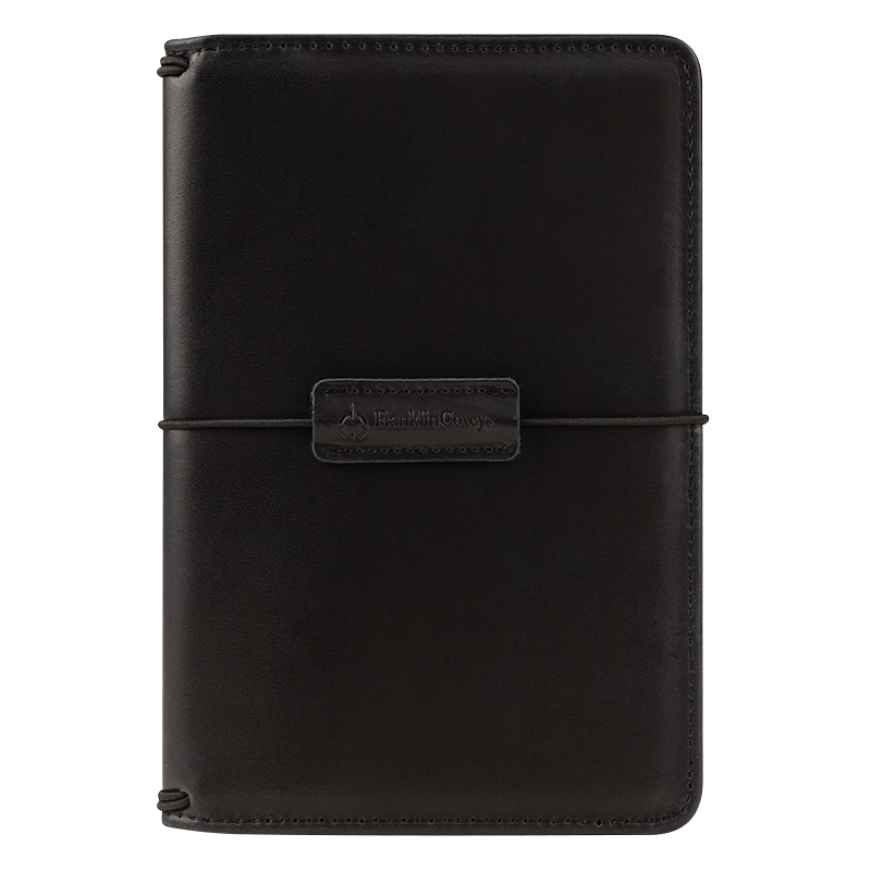 Compact Leather Elastic Travelers Cover - Black
