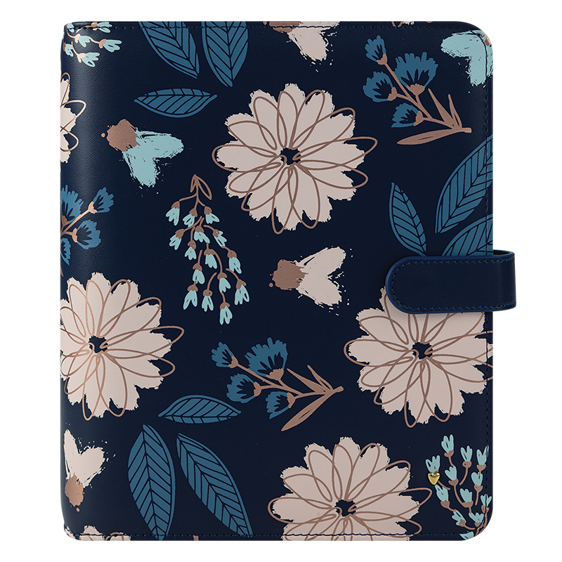 Classic Brushed Planner Love Simulated Leather Snap Binder - Navy Floral