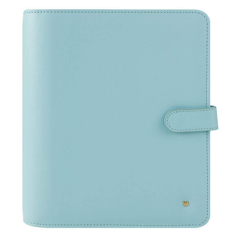 Classic Brushed Planner Love Simulated Leather Snap Binder - Mint Blue