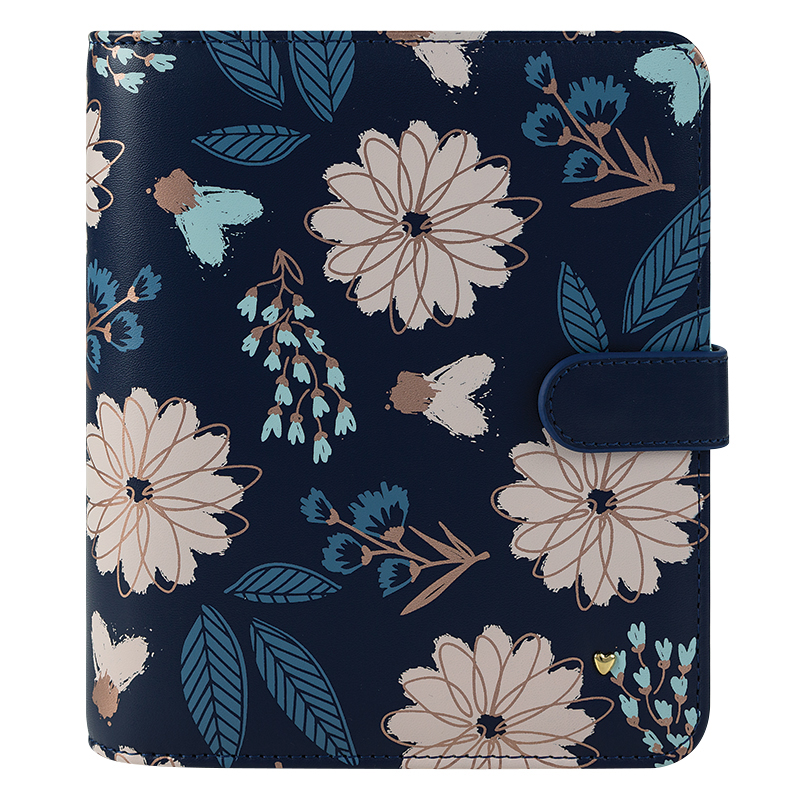 Compact Brushed Planner Love Simulated Leather Snap Binder - Navy Floral