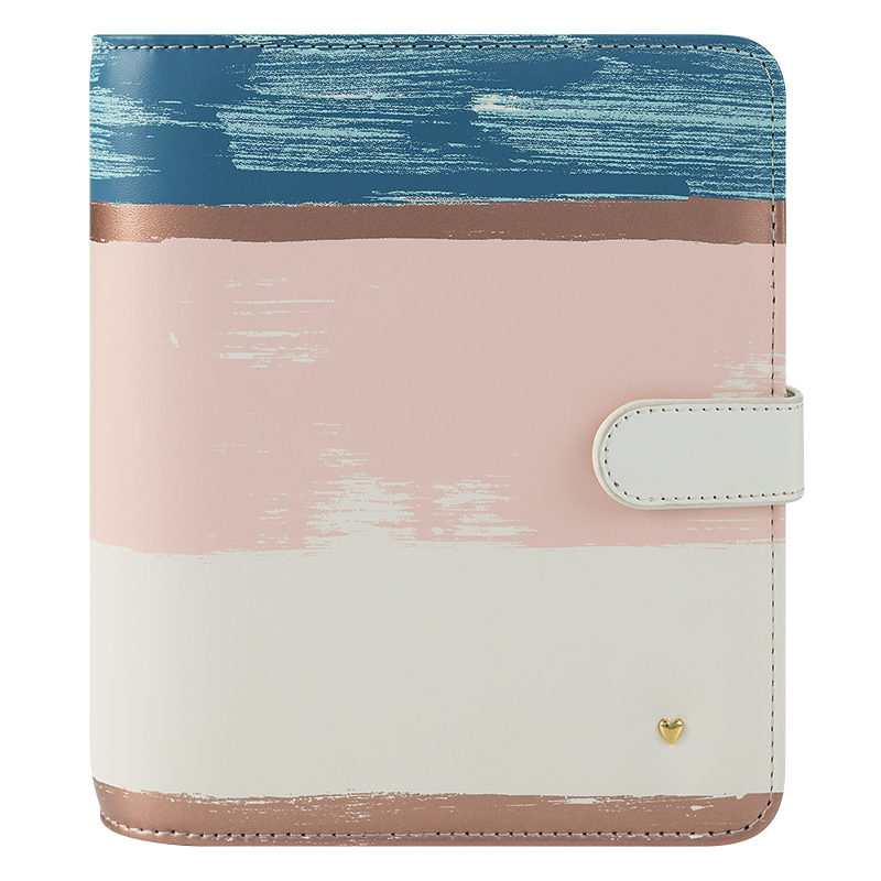 Compact Brushed Planner Love Simulated Leather Snap Binder - Striped