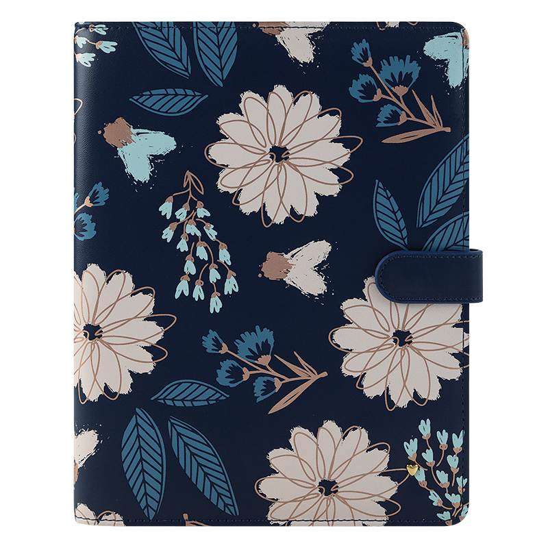 Classic Brushed Planner Love Simulated Leather Wire-bound Cover - Navy Floral