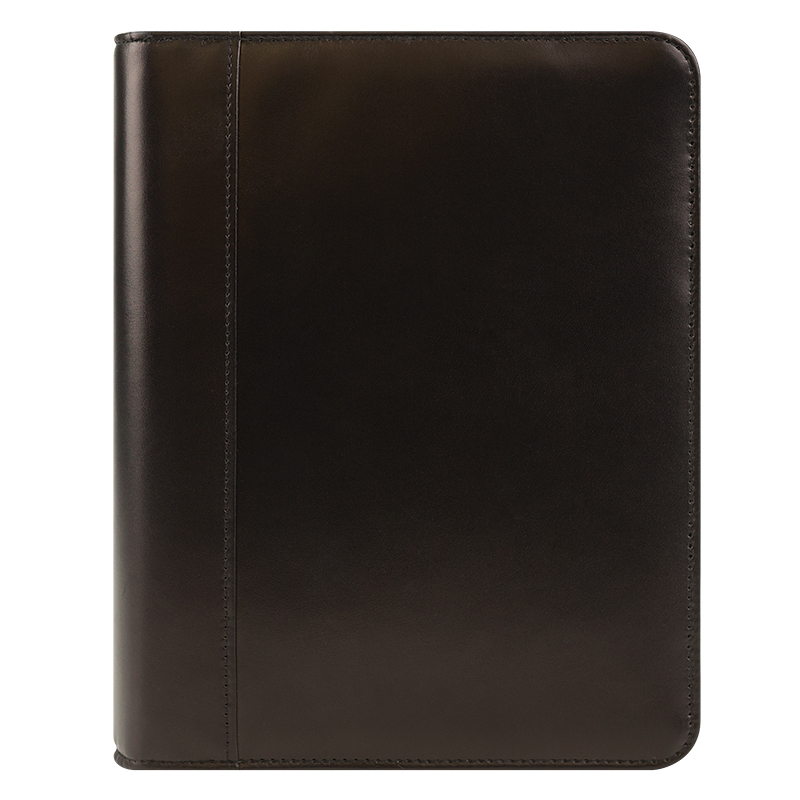 Classic Smith Leather Open Binder - Black