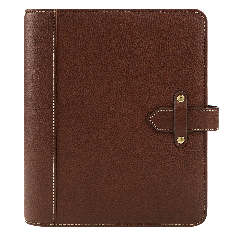 Classic Vintage Aurora Leather Strap Binder - Chocolate
