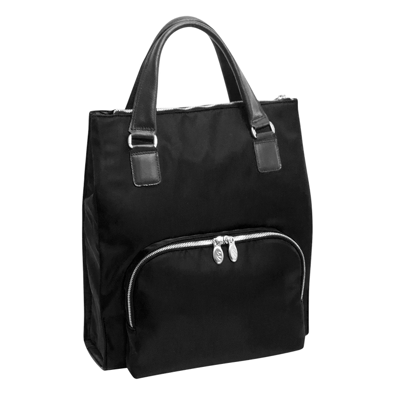 Sofia Nylon Backpack Tote - Black
