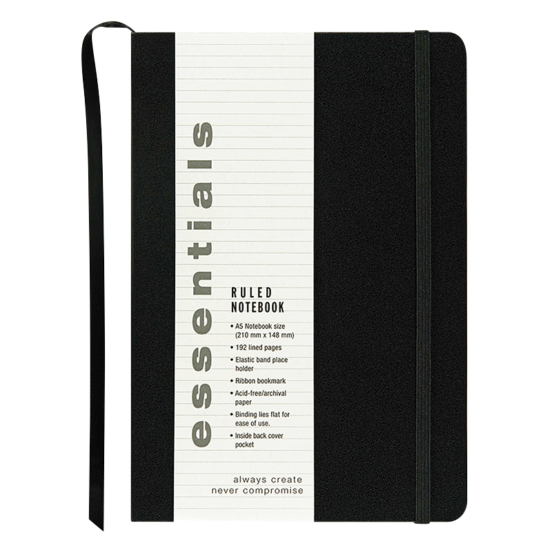 Essentials Large Ruled Notebook - Black