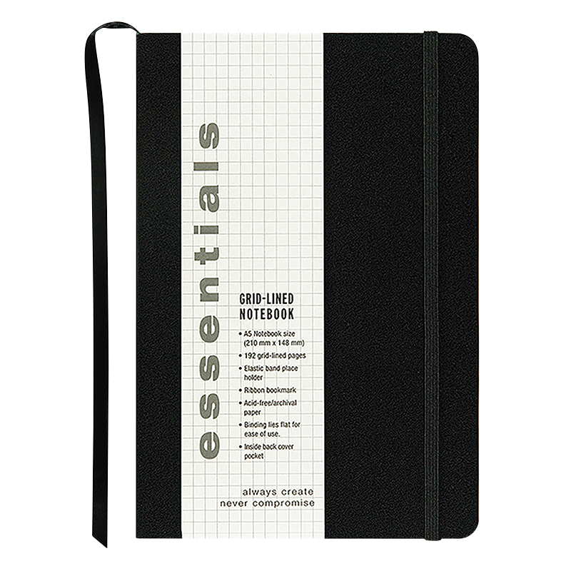 Essentials Large Grid Notebook - Black