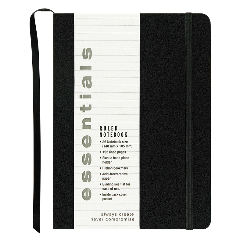 Essentials Small Ruled Notebook - Black