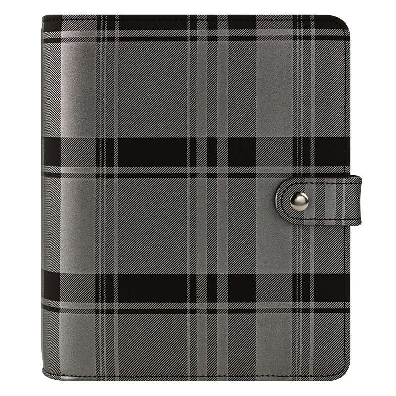 Classic Madelynn Simulated Leather Snap Binder - Black/Silver