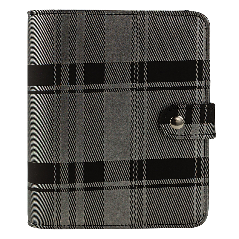 Compact Madelynn Simulated Leather Snap Binder - Black/Silver