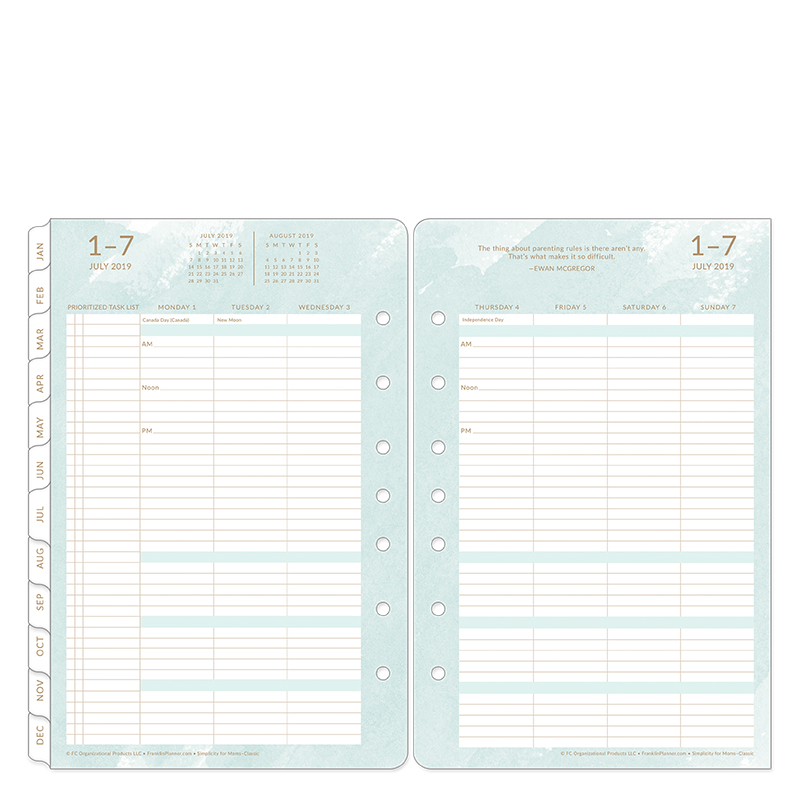 Classic Simplicity for Moms Weekly Ring-bound Planner - July 2019 - June 2020